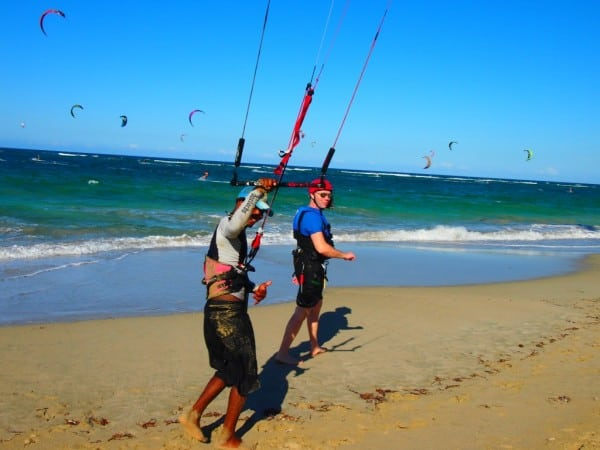Papito teaching kitesurfing